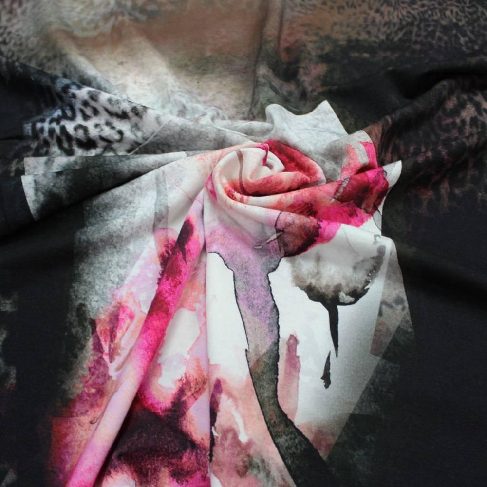 Jersey Stoff Viskose Blumen Leoparden Muster Viskosejersey Bild 1