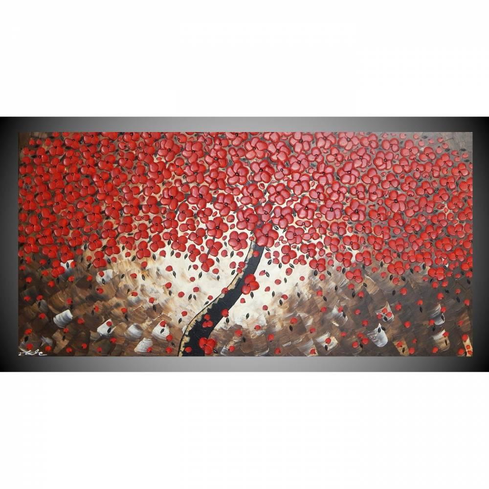 Acrylbild auf Leinwand Bild abstrakt Baum mit roten Blumen Leinwandbilder Wandbilder Wanddeko Bilder für Wohnzimmer by ilonka Bild 1
