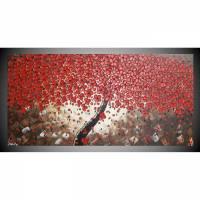Acrylbild auf Leinwand Bild abstrakt Baum mit roten Blumen Leinwandbilder Wandbilder Wanddeko Bilder für Wohnzimmer by ilonka