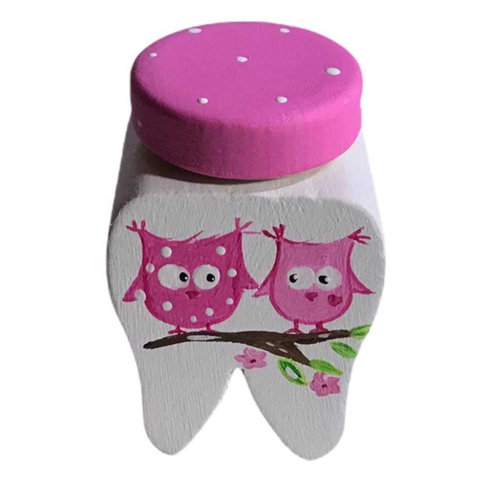 Milchzahndose Zahndose für Milchzähne Eulen -Fliegenpilze weiss pink Bild 1