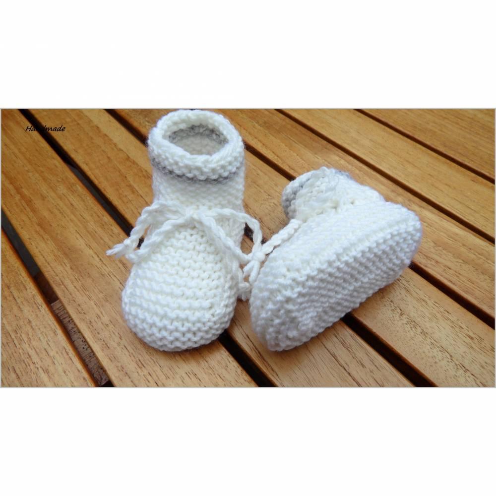 Babyschuhe für Neugeborene, Babyschuhe aus Wolle (Merino), weiß Bild 1