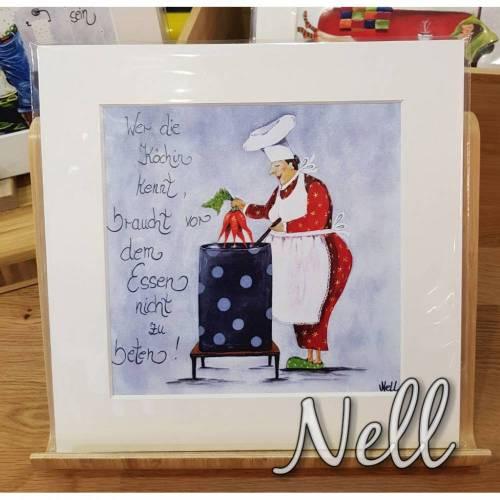 """Passepartout-Bild    """"Wer die Köchin kennt....braucht vor dem Essen nicht zu beten"""""""