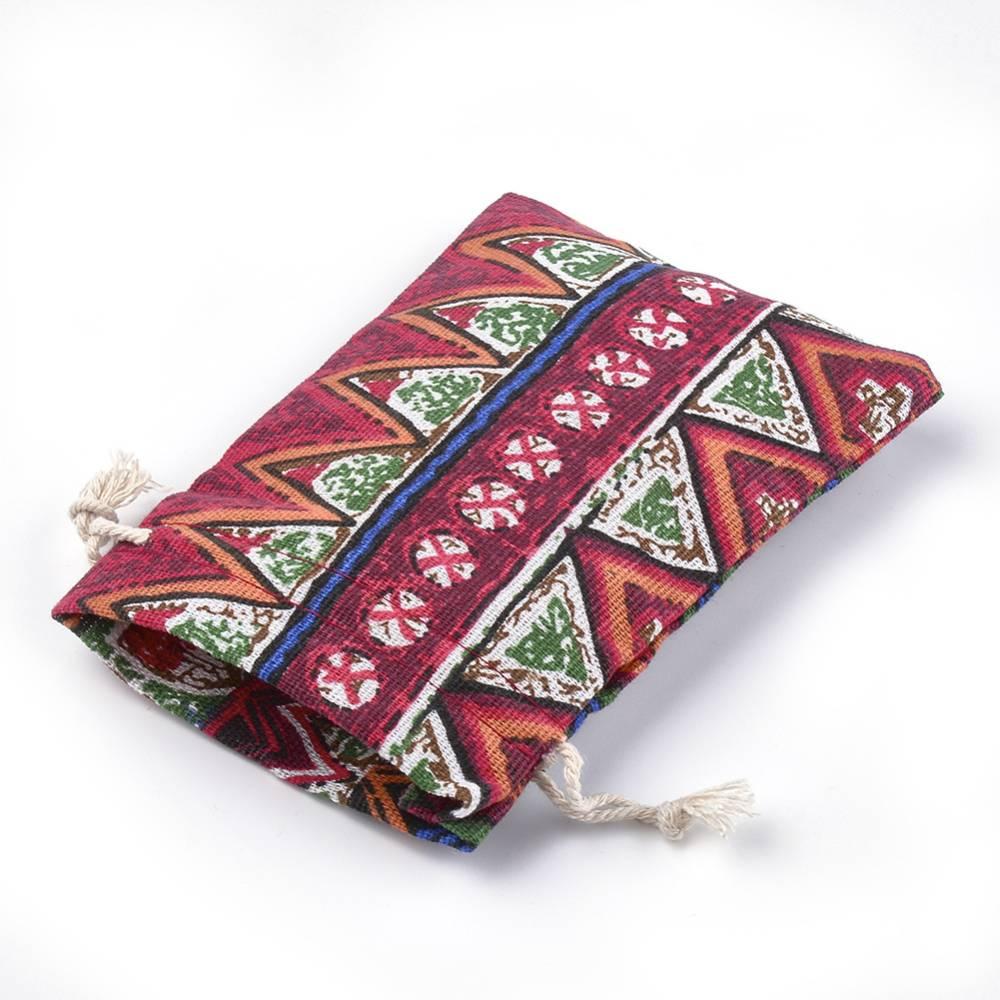 5 Geschenkbeutel, Baumwolle mit Kordelzug, Ehtno-Stil, 13x14,50x10 cm, bunt, Verpackung für Ketten, Armbänder, Uhren, Geschenke Bild 1