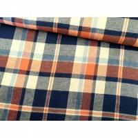 Flanell Vichy Karo blau/orange Bild 1