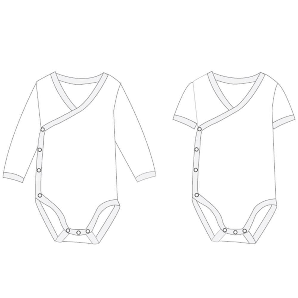 Baby Body langarm oder kurzarm, Wickelbody + Strampler für Frühchen Gr. 38 bis 92 Schnittmuster Papierschnitt CIELO von Patternforkids Bild 1