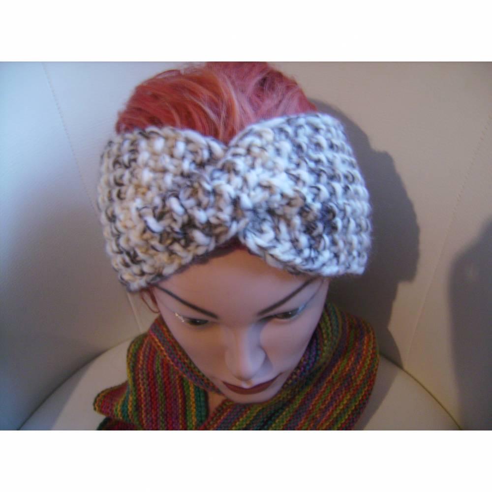 handgestricktes Twist-Stirnband in braun/beige aus Handstrickgarn, KU ca. 55-59 cm     Bild 1