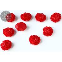 2 Stk. rote Blumen Cabochons 21mm Bild 1