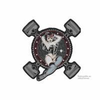 XL Rockabilly PIN UP patch, 200x210mm, gestickt Bild 1
