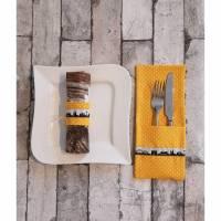 Bestecktasche Tischdekoration Köln Kölner Skyline Tischwäsche in gelb oder türkis Bild 1