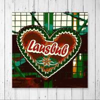 LAUSBUB Herz Grün Oktoberfest Lebkuchenherz Fotografie Pop Art Print Kunstdruck Geschenk für ihn // 13 x 13 cm // 20 x 20 cm // 30 x 30 cm
