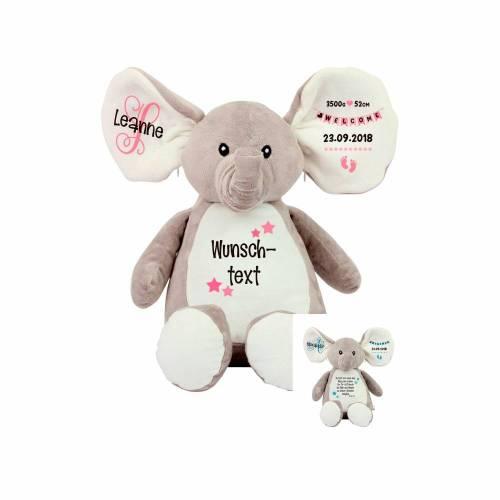 Elefant Stofftier mit Name Geschenkidee zur Taufe, Geburt personalisiert mit Namen Geburtsdaten Taufspruch