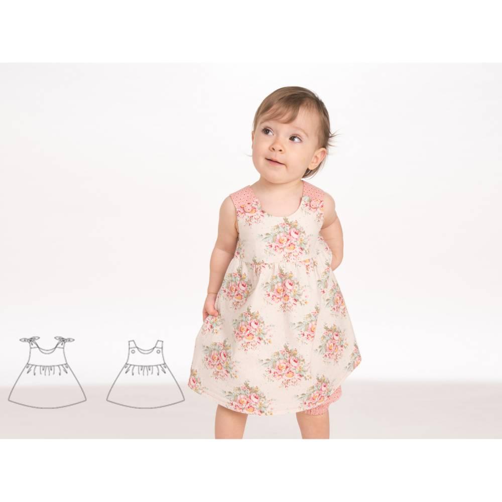 Babykleid Hängerchen Schnittmuster pdf. Kleid für Mädchen und Baby Schürzenkleid mit Passe Gr. 56 bis 98 als Ebook CLARA von Patternforkids Bild 1