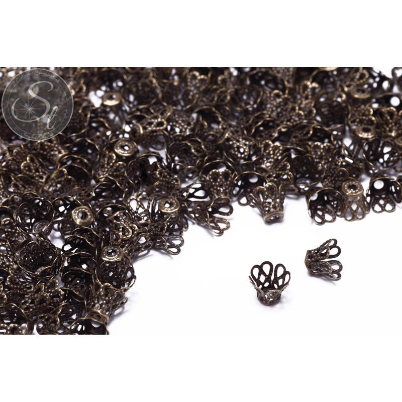 30 Stk. antik-bronzefarbene Perlenkappen 9mm Bild 1