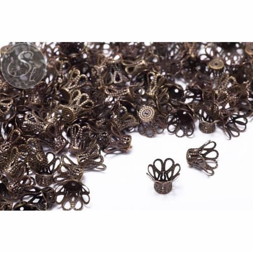 20 Stk. antik-bronzefarbene Perlenkappen 17mm