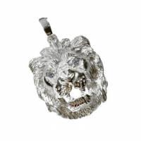 Anhänger Löwe Silber 925 Löwenkopf Massiv 15g mit Zirkonia Augen Massiv Herren Schmuck Bild 1
