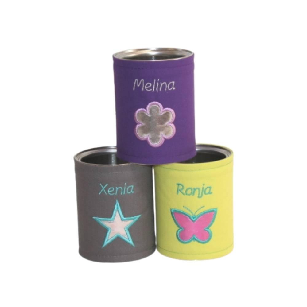 Personalisierte Stiftebox in Wunschfarben mit Motiv: Herz, Stern, Blume oder Schmetterling Bild 1