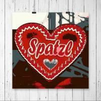Herz Rot Spatzl // Liebe Valentinstag Freundin Frau Oktoberfest Dekoration Geschenk für Sie // Pop Art Print Kunstdruck // 13 x 13 cm // 20 x 20 cm // 30 x 30 cm
