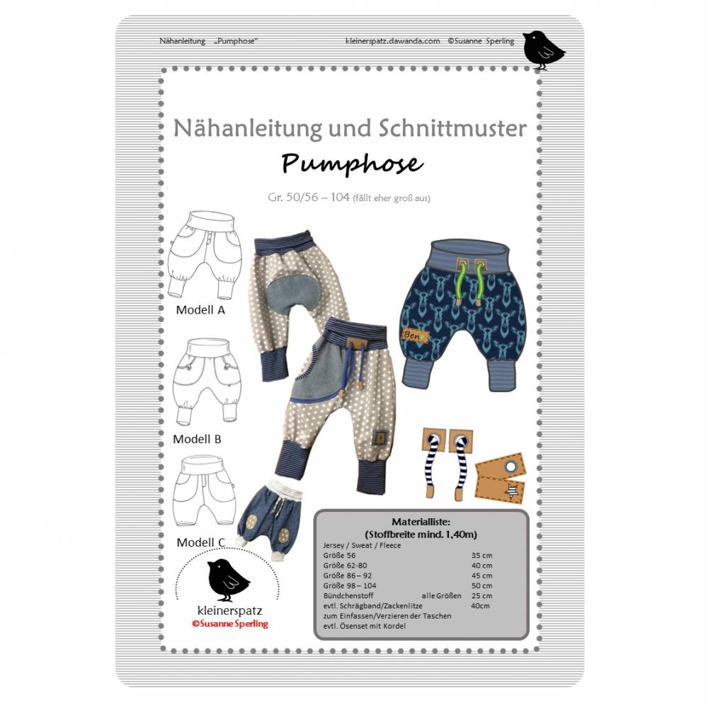 Nähanleitung und Schnittmuster Pumphose, Hose für Babys Bild 1