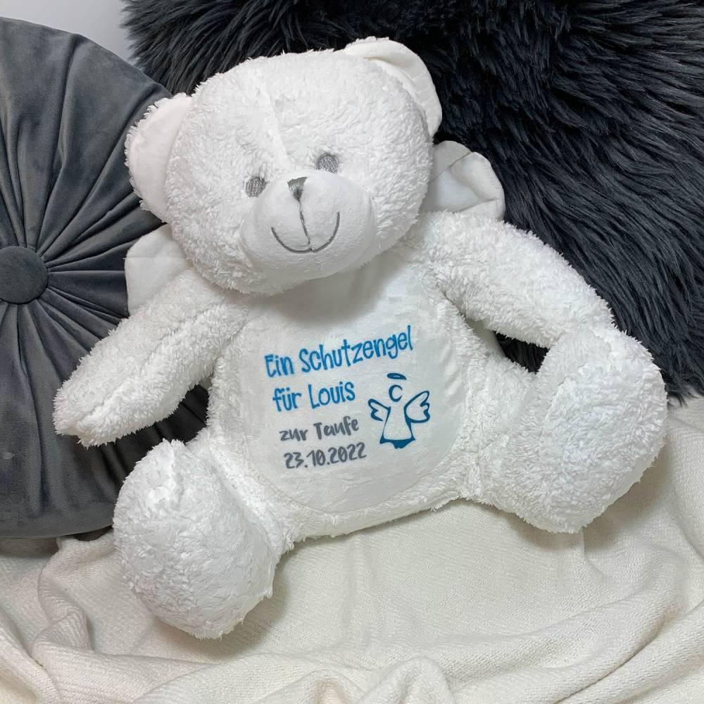 Schutzengel Taufe Geburt Teddybär Schutzengelbär mit Namen  Bild 1