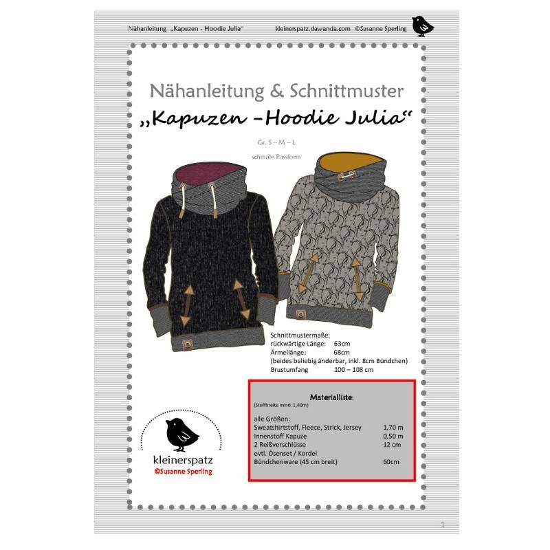 "Nähanleitung und Schnittmuster Hoodie ""Julia"", Kapuzenpullover, Sweat Bild 1"