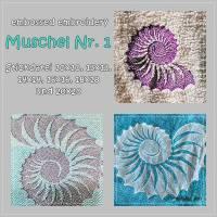 Stickdatei *embossed* Muschel Nummer 1 10x10 bis 20x20 Bild 1