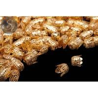 10 Stk. goldfarbene Perlenkappen 12mm Bild 1