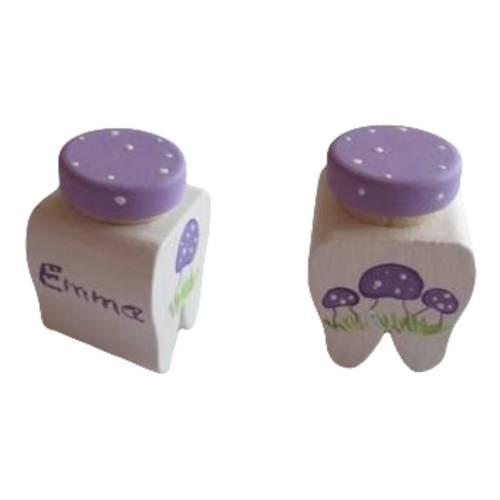 Milchzahndose Zahndose für Milchzähn Fliegenpilze weiss lila