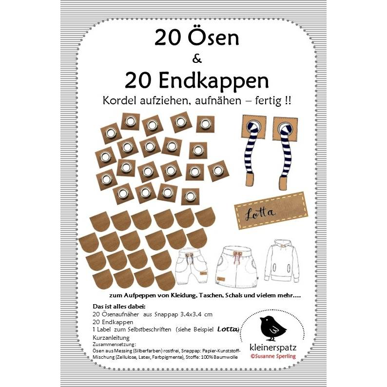 Ösen Patches aus Snappap 10mm mit Metallöse, braun oder grau, zum Aufnähen Bild 1