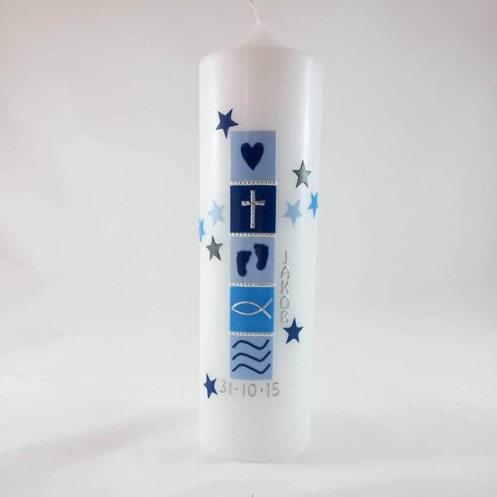 Taufkerze für Jungen, hellblau, Sterne, 250 x 70mm Bild 1