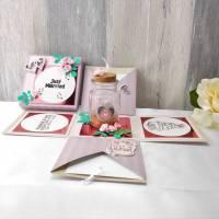 Explosionsbox Hochzeit, Geldgeschenk, Hochzeit, Hochzeitsgeschenk, Pop up Box, lila rosa Bild 1