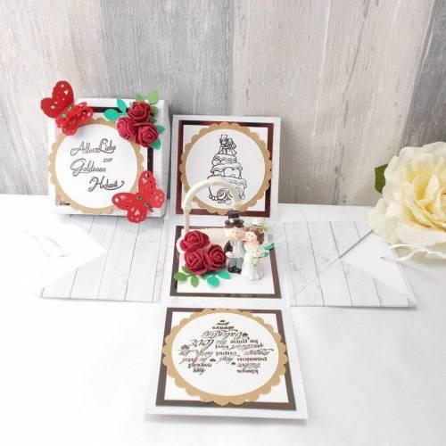 Explosionsbox Goldene Hochzeit, Pop up Box Goldhochzeit, Geldgeschenk Goldene Hochzeit, Hochzeitsgeschenk, Geldgeschenk zum Jubiläum