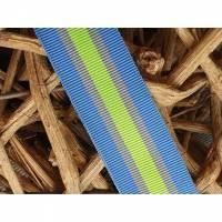 Ripsband blau/neongelb 25mm Bild 1