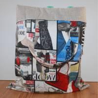 Einkaufstasche, Einkaufsbeutel, Stoffbeutel -Design Modezeitschrift- 36x45 cm Bild 1