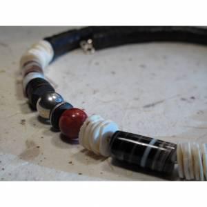 Halskette Afrika, Kokos-Muschel-Sardonyx, Silber