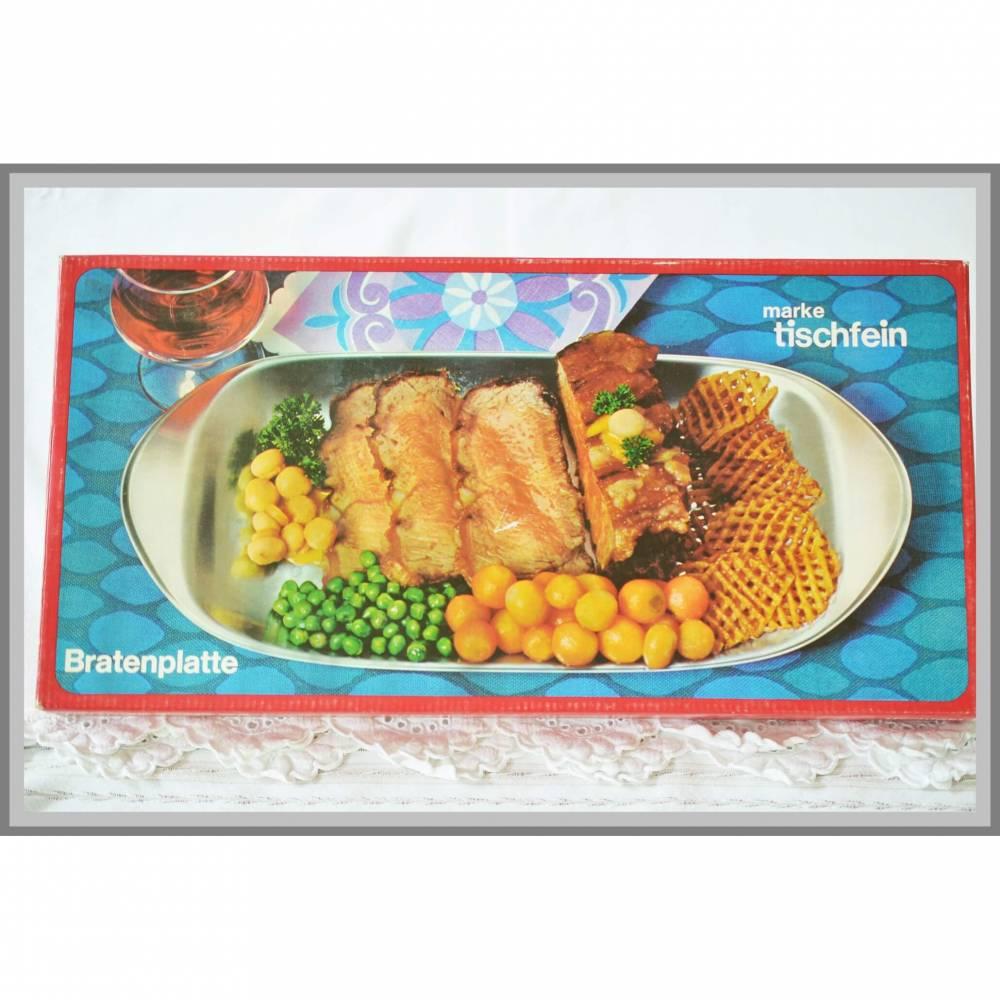 Vintage, Bratenplatte Marke Tischfein, Servierteller, Wurstplatte, Fleischplatte, Edelstahl Rostfrei 18/10, 43x21.5cm Bild 1