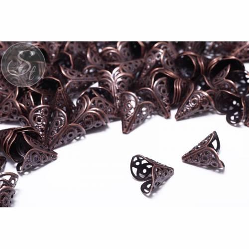 10 Stk. kupferfarbene Perlenkappen 17mm