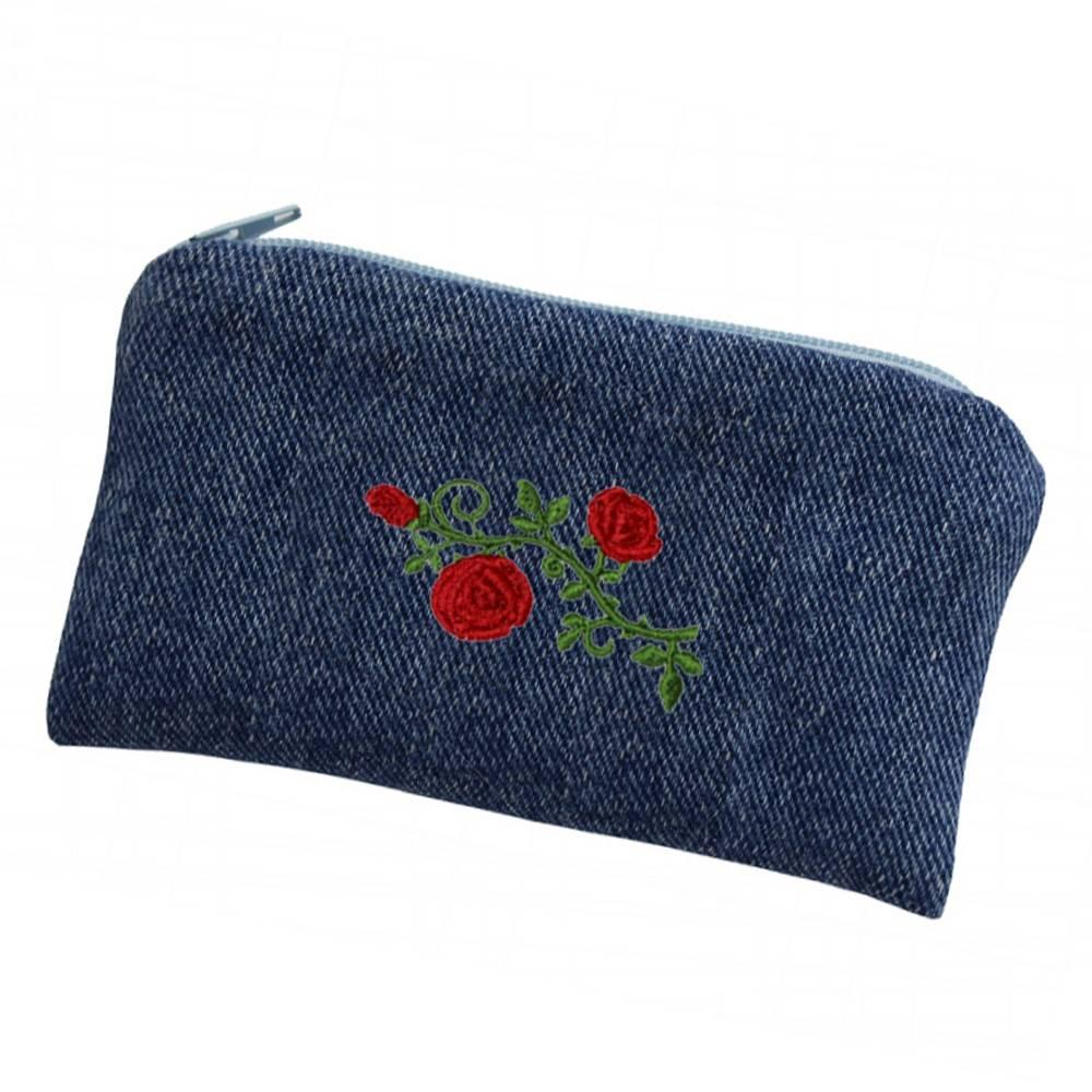 Jeans Handytasche Upcycling Handyhülle Täschchen Rosen Bild 1