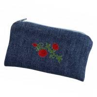 Universaltäschchen Jeans Upcycling Täschchen Rosen Bild 1