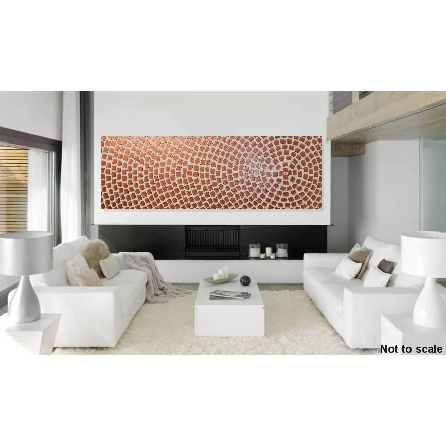 Großes Bild auf Leinwand Acrylbild abstrakt Leinwandbilder Kunst Malerei Bild Weiß Kupfer Metallic Bilder für Wohnzimmer Künstler modern art Wanddeko by ilonka Bild 1
