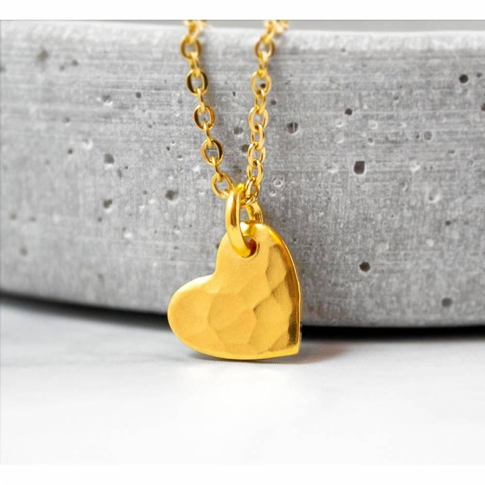 Herzkette - Gehämmert - Silber oder Gold - Edelstahl oder 925er Silber - Geschenk - Liebe - Valentinstag - Love Bild 1