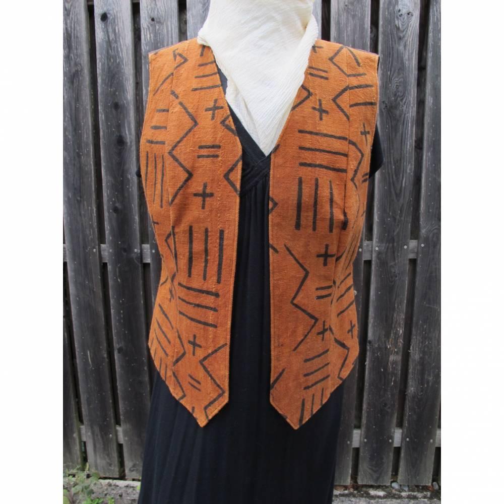 Damenweste Afrika, handgewebt, Bogolan, braun/schwarz, XL, EINZELSTÜCK Bild 1