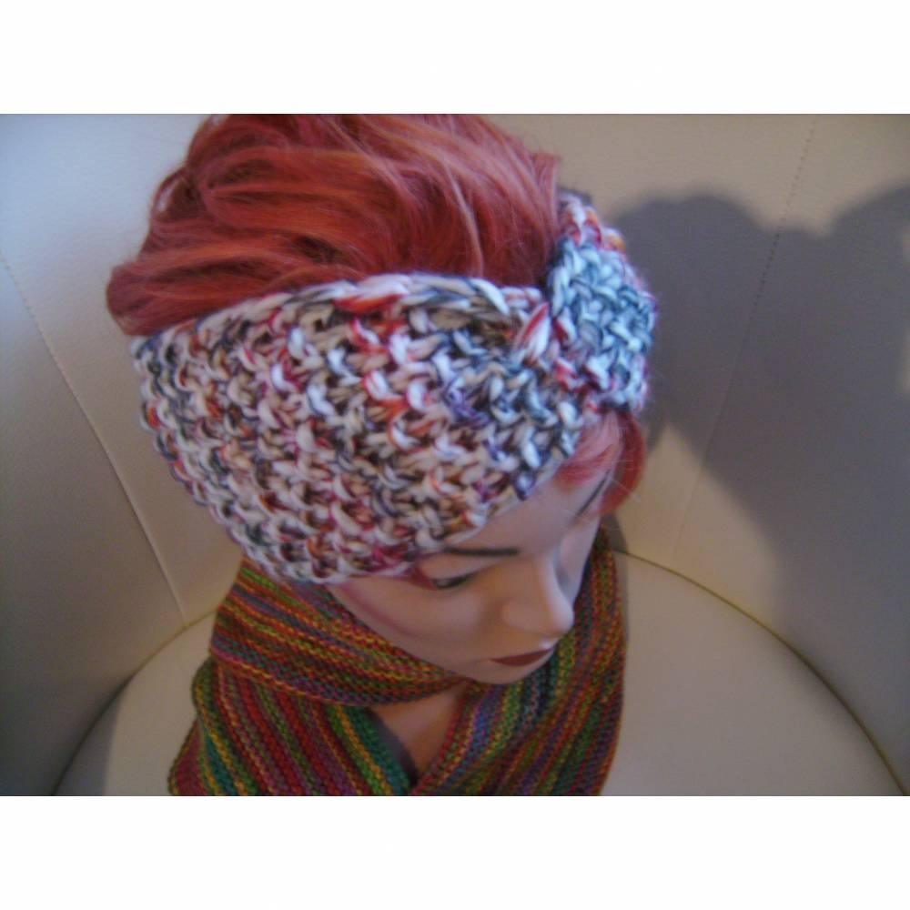 handgestricktes Twist-Stirnband in bunt/beige aus Handstrickgarn, KU ca. 55-58 cm     Bild 1