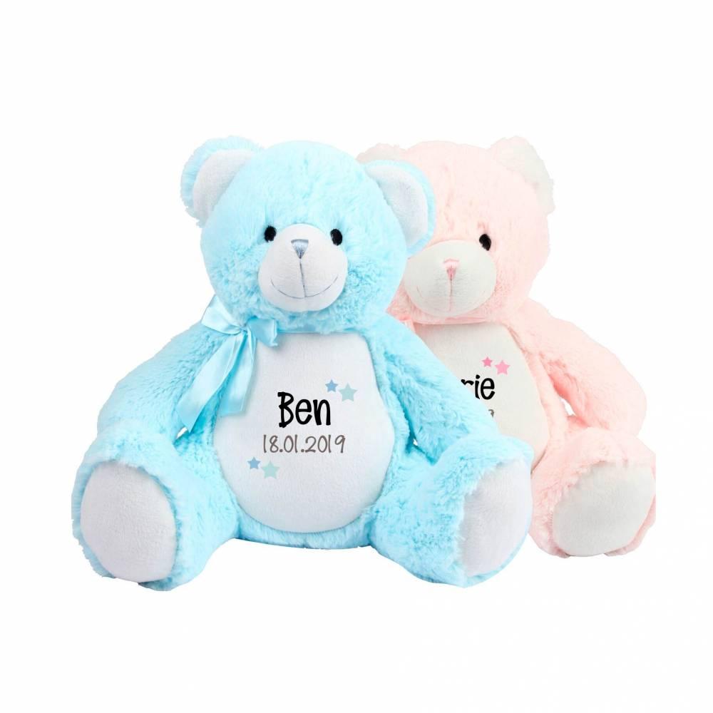 Teddybär mit Namen und Geburtsdatum in rosa blau / Baby Geschenk zur Geburt / Geschenk Geburt personalisiert Aktiv  Bild 1