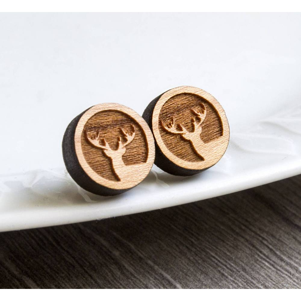 1 Paar Ohrringe Holzohrstecker Edelstahl mit Hirschkopf in Buchenholz