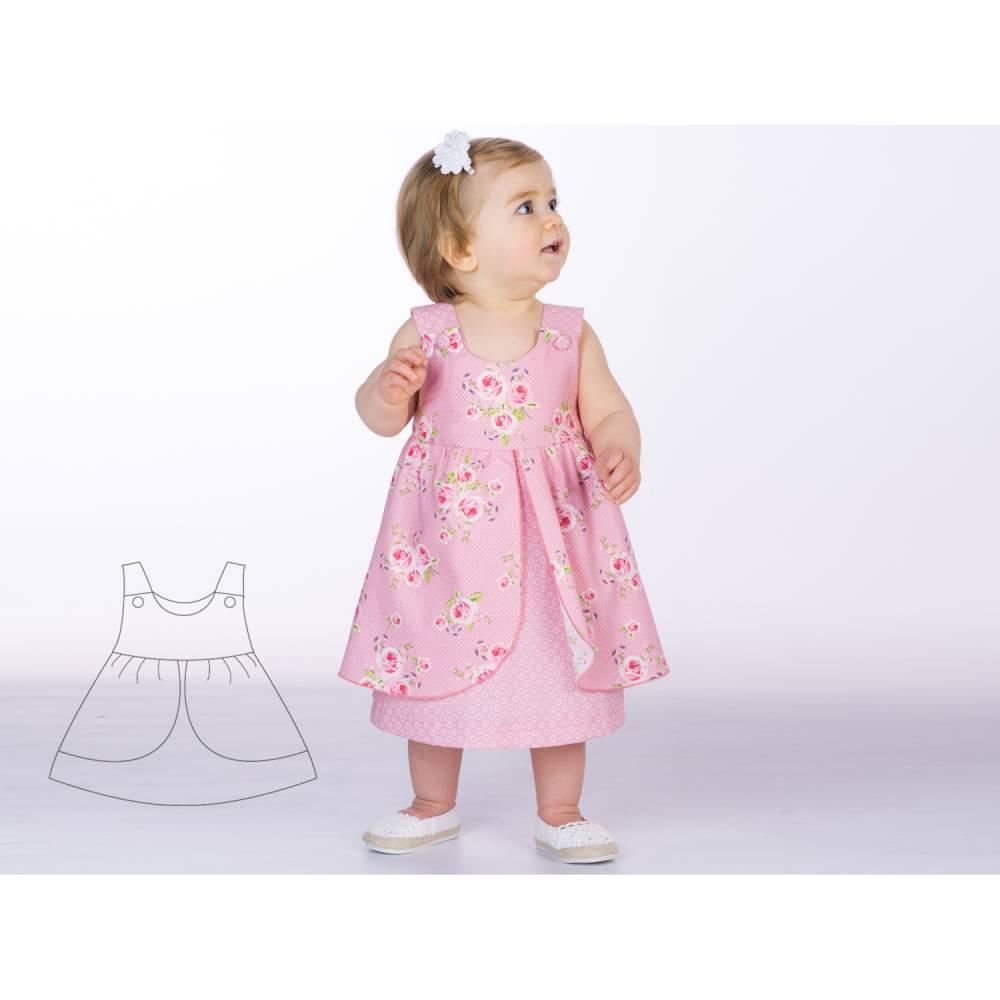 Schnittmuster Babykleid Hängerchen. Kleid für Mädchen und Baby Schürzenkleid Gr. 56 bis 98 als Ebook PDF download ROSA von Patternforkids Bild 1