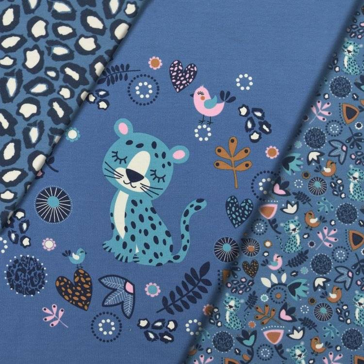 Baumwolljersey Panel Sleeping Panther ca. 150 x 87 cm, blau Bild 1