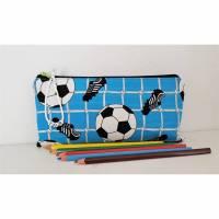 Stiftetäschchen Täschchen Fußball Baumwolle Reißverschluss. Bild 1