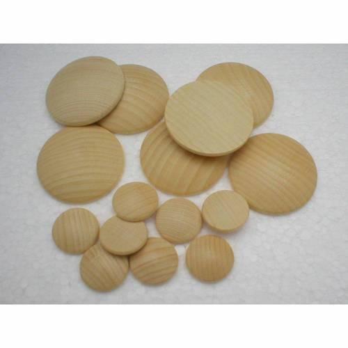MIX-Paket Platinen Holzbutton Ø = 15 bis 50 mm Buche massiv