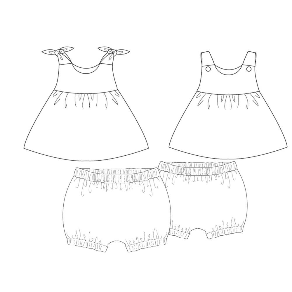 Baby Twin set Hängerchen und Pumphose für Mädchen Schnittmuster. Kinder Twinset Kombi Hose + Kleid LIPSIA + ELISA von Patternforkids Bild 1