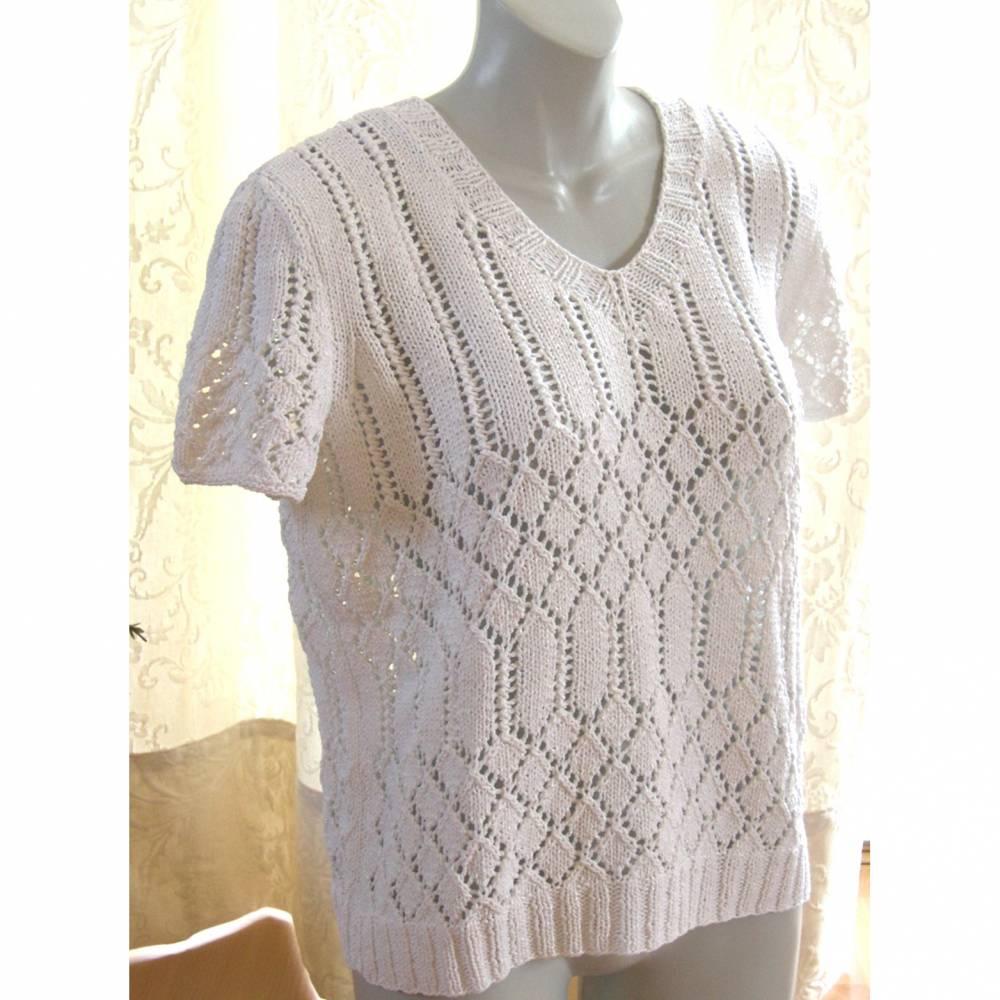 handgestrickter Sommerpullover in weiß, Gr. XL Bild 1